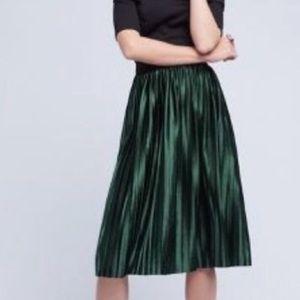 Holiday Party Alert!! Anthro green velvet skirt